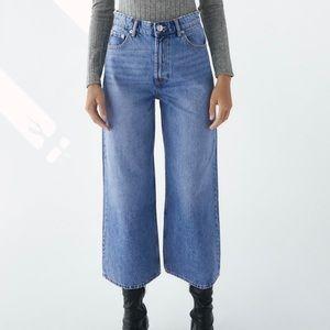 Zara cropped wide leg jeans